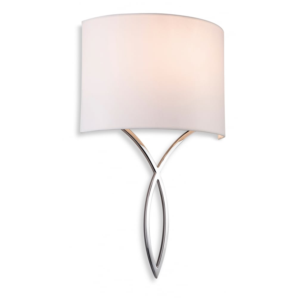 Bhs Wall Lamp Shades : Contemporary Chrome Wall Light with Cream Shade
