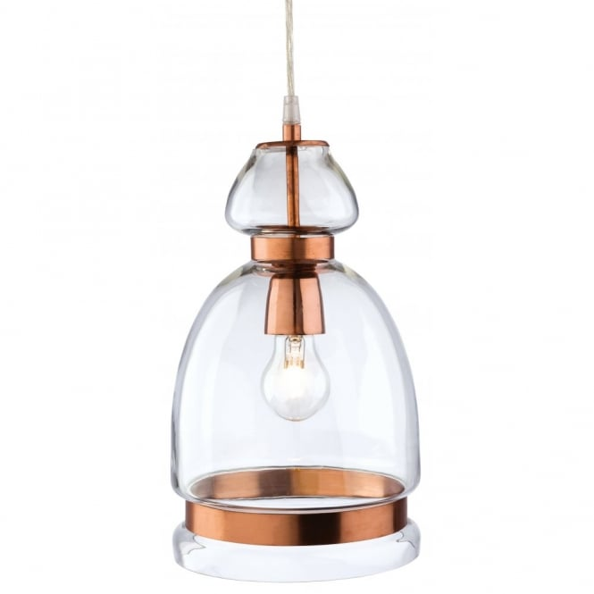 The Lighting Collection CRAFT beveled clear glass ceiling pendant with copper detailing