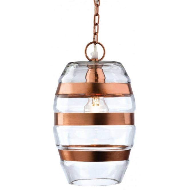 The Lighting Collection CRAFT decorative clear glass and copper ceiling pendant