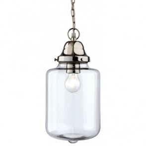 CRAFT polished chrome and clear glass ceiling pendant