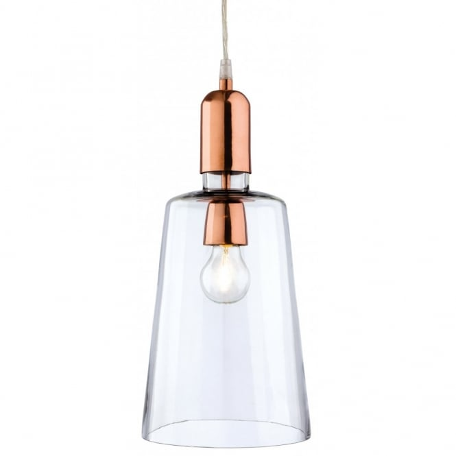 The Lighting Collection CRAFT tapered clear glass and brass ceiling pendant