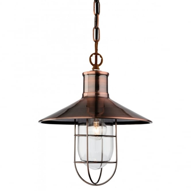 The Lighting Collection CRESCENT rustic design ceiling pendant in antique copper