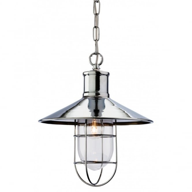 The Lighting Collection CRESCENT rustic design ceiling pendant in chrome