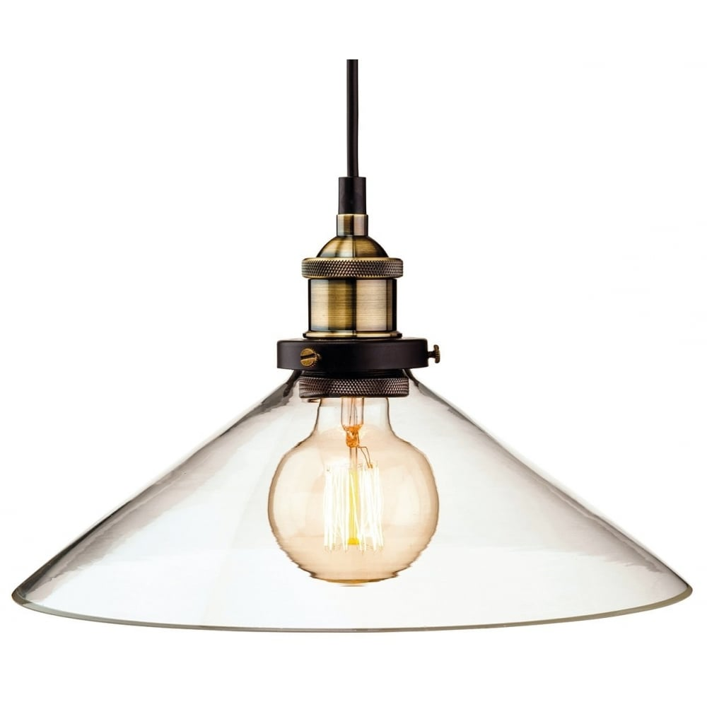 Vintage Industrial Ceiling Pendant In Antique Brass With Glass Shade