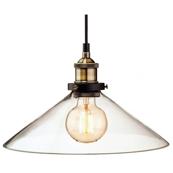 Vintage industrial ceiling pendant in antique brass with - Clear glass ceiling light ...