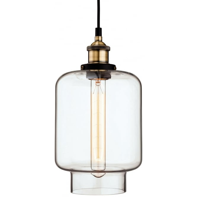 The Lighting Collection EMPIRE antique brass and clear glass ceiling pendant