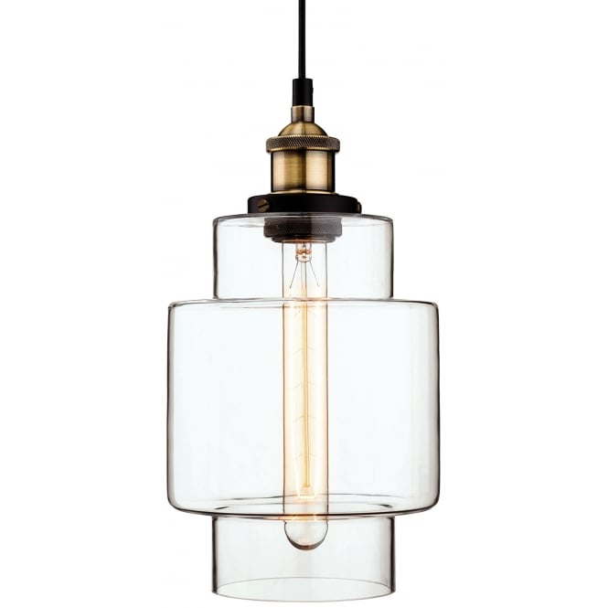 The Lighting Collection EMPIRE ceiling pendant with antique brass suspension and clear glass shade