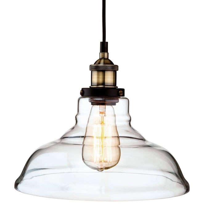 The Lighting Collection EMPIRE vintage industrial ceiling pendant in antique brass with clear glass shade
