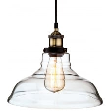 vintage antique brass and clear glass pendant light