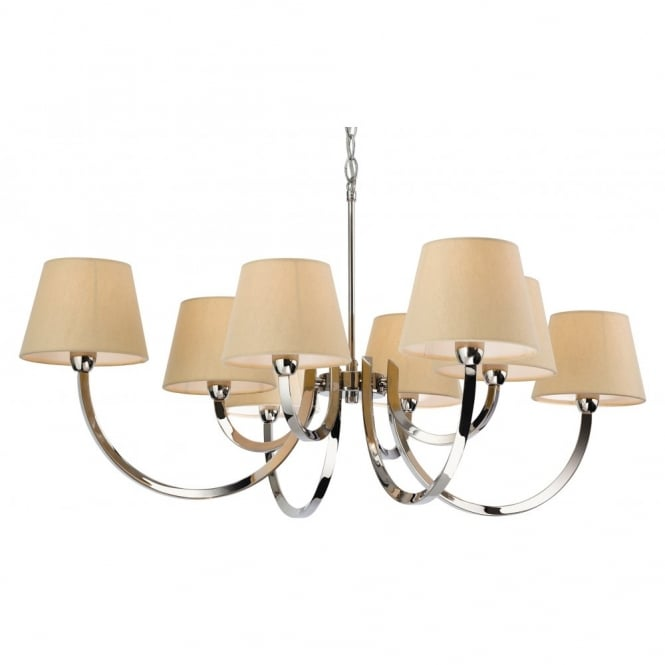 The Lighting Collection FAIRMONT 8 light ceiling pendant in polished chrome with cream shades