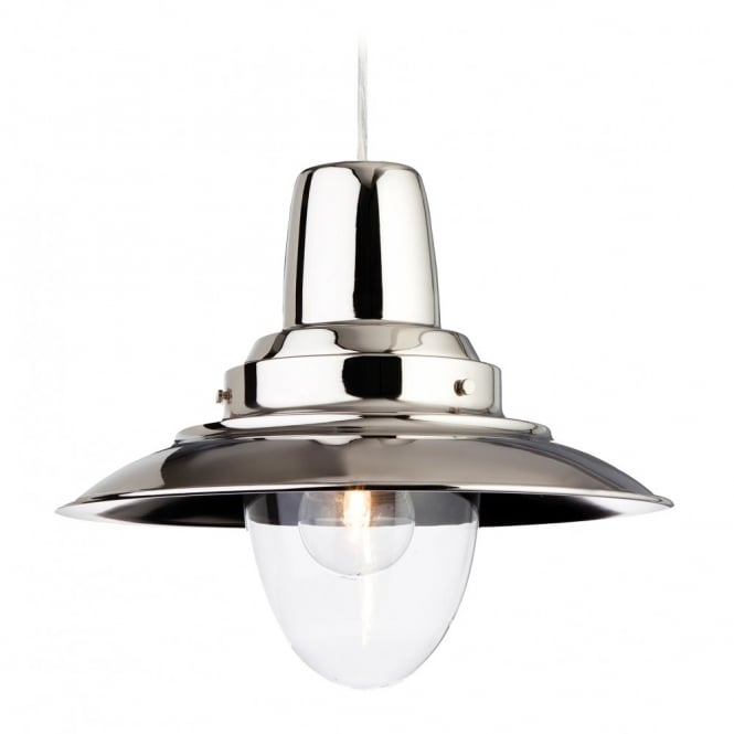 The Lighting Collection FISHERMAN rustic ceiling pendant in a chrome finish