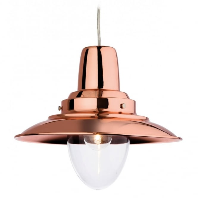 The Lighting Collection FISHERMAN rustic ceiling pendant in a copper finish