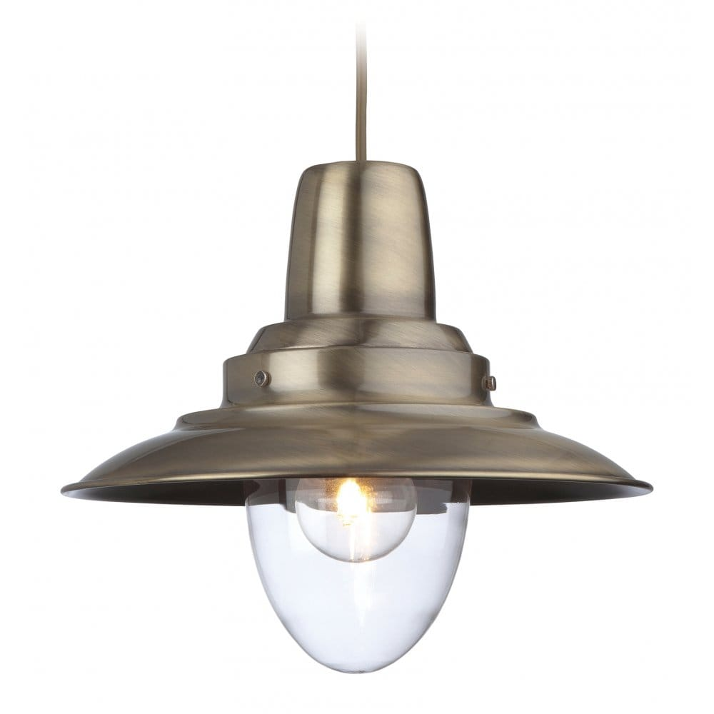 Rustic Lighting Company: Retro Style Ceiling Pendant In Antique Brass Finish
