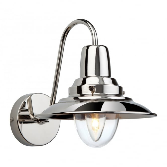The Lighting Collection FISHERMAN single retro wall light in polished chrome
