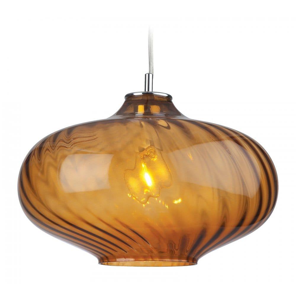Amber Glass Ceiling Pendant Light For Over Table Lighting