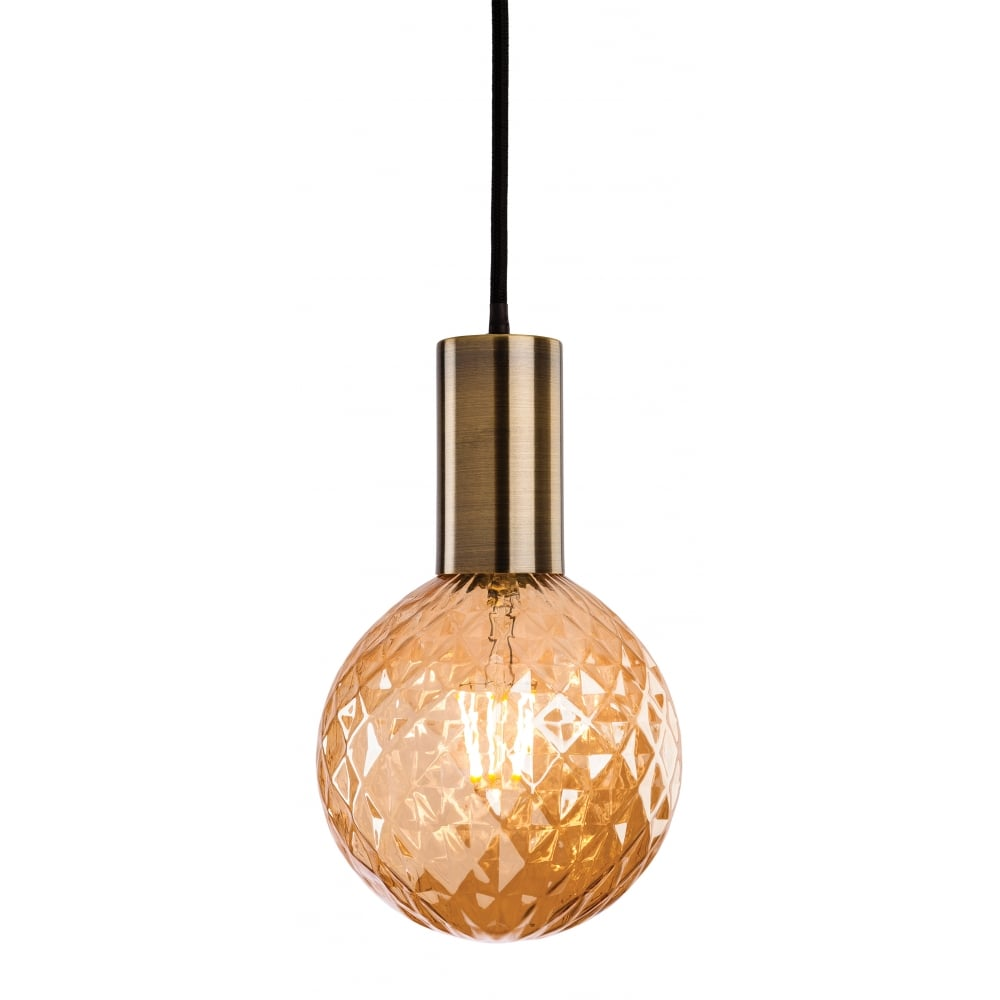 Single Brass Ceiling Pendant With Decorative Round LED Bulb