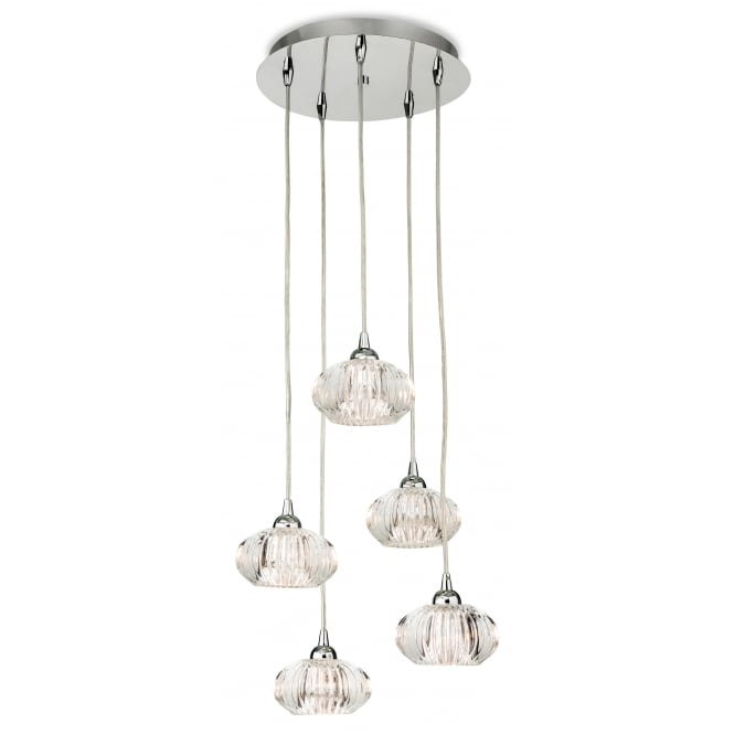LISBON 5 light cluster pendant in chrome with decorative clear glass shades