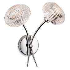 LISBON modern double wall light in chrome with decorative glass shades