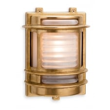 industrial coastal style outdoor wall light in brass