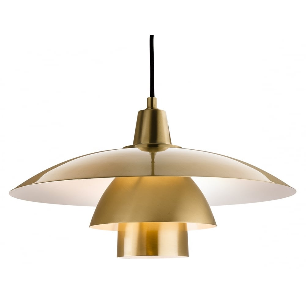 OLSEN Contemporary Brushed Brass Ceiling Pendant