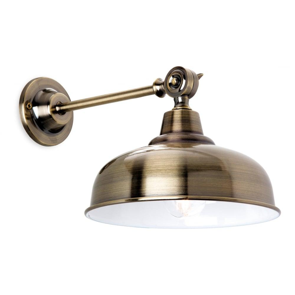 Industrial design antique brass wall light with tap detailing industrial design antique brass wall light aloadofball Images