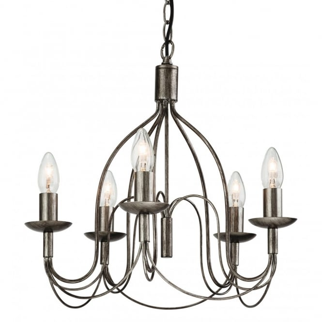 REGENCY rustic 5 light ceiling pendant in antique silver