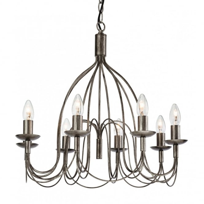 The Lighting Collection REGENCY rustic 8 light antique silver ceiling pendant