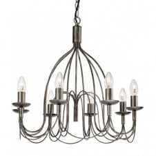 REGENCY rustic 8 light antique silver ceiling pendant