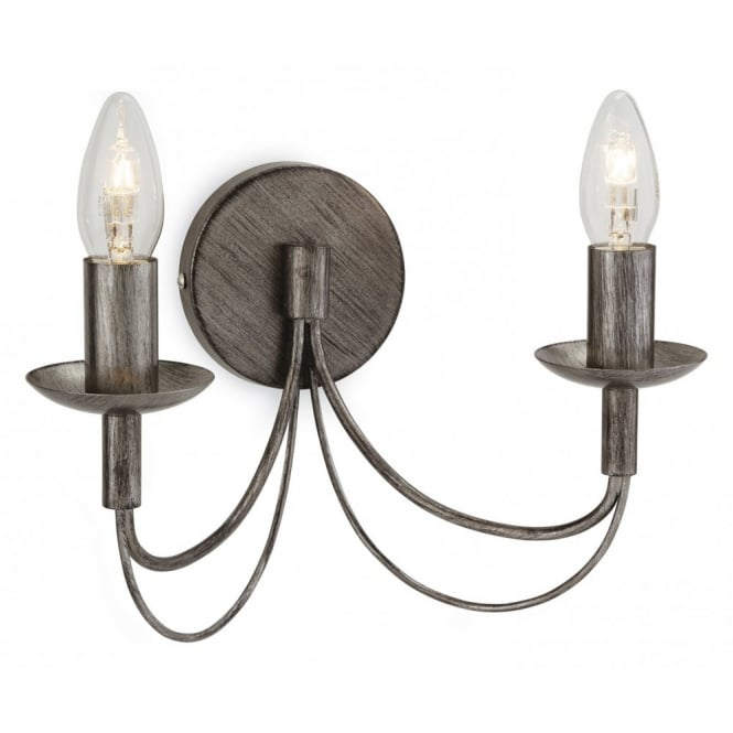 The Lighting Collection REGENCY traditional antique silver double wall light