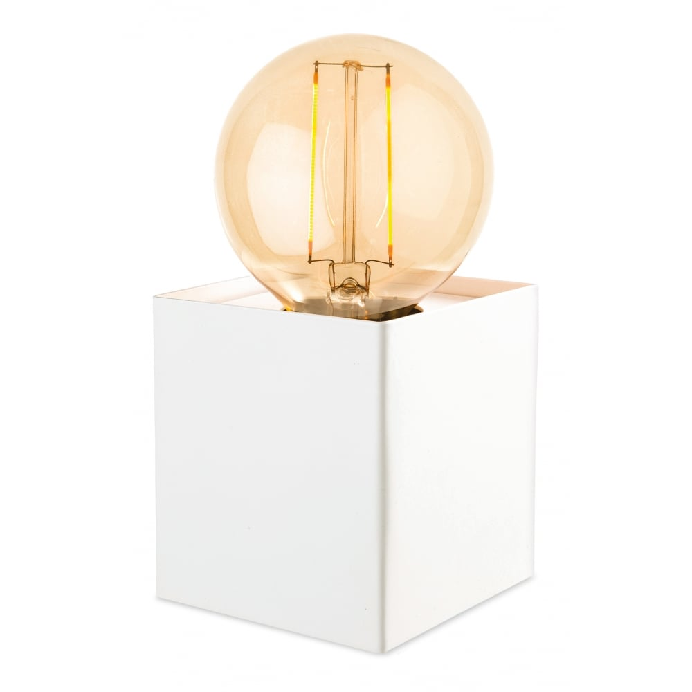 Contemporary led floor table uplighter lamp in white small white box desk lamp aloadofball Images