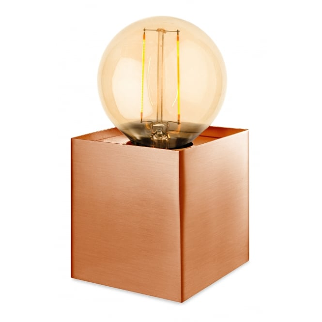 RICHMOND box light table lamp in brushed copper finish