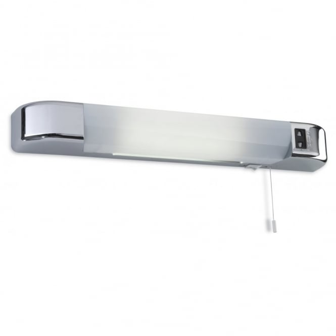 Chrome modern design led bathroom shaver light with pull cord shaver led contemporary polished chrome wall light with shaver socket aloadofball Choice Image