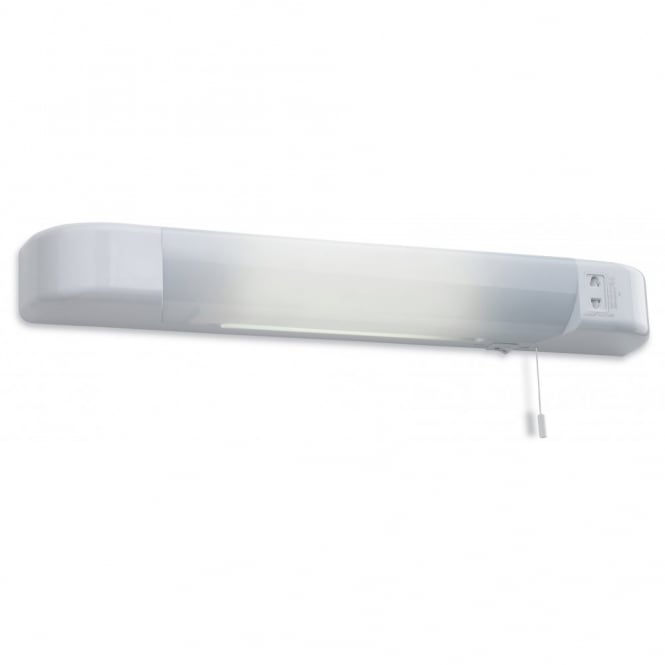 The Lighting Collection SHAVER LED contemporary white wall light with shaver socket