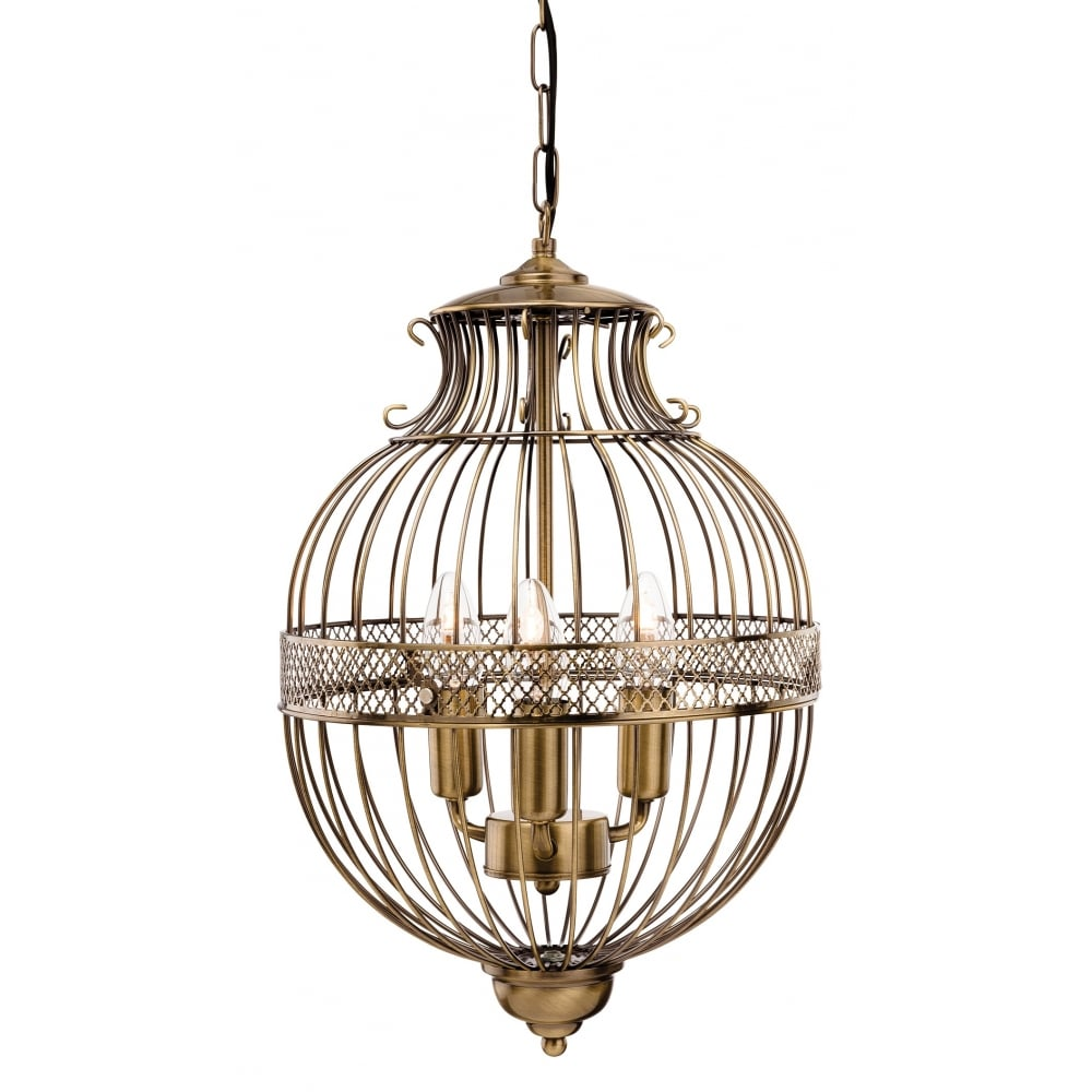 stanford birdcage globe pendant in antique brass ceiling lights from lighting company uk. Black Bedroom Furniture Sets. Home Design Ideas