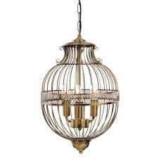 STANFORD birdcage globe pendant in antique brass