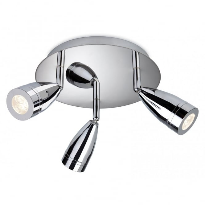 The Lighting Collection STORM LED 3 light flush ceiling light in polished chrome