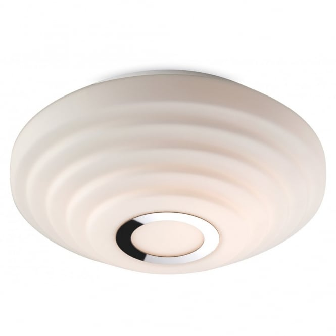The Lighting Collection STYLE flush bathroom ceiling light with tiered ripple effect and chrome ring