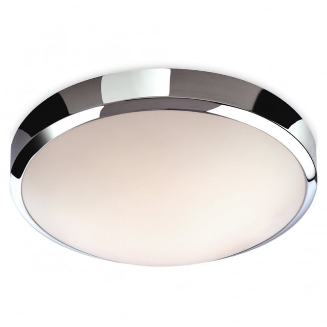 The Lighting Collection TORO LED flush bathroom ceiling light with polycarbonate shade & chrome detail