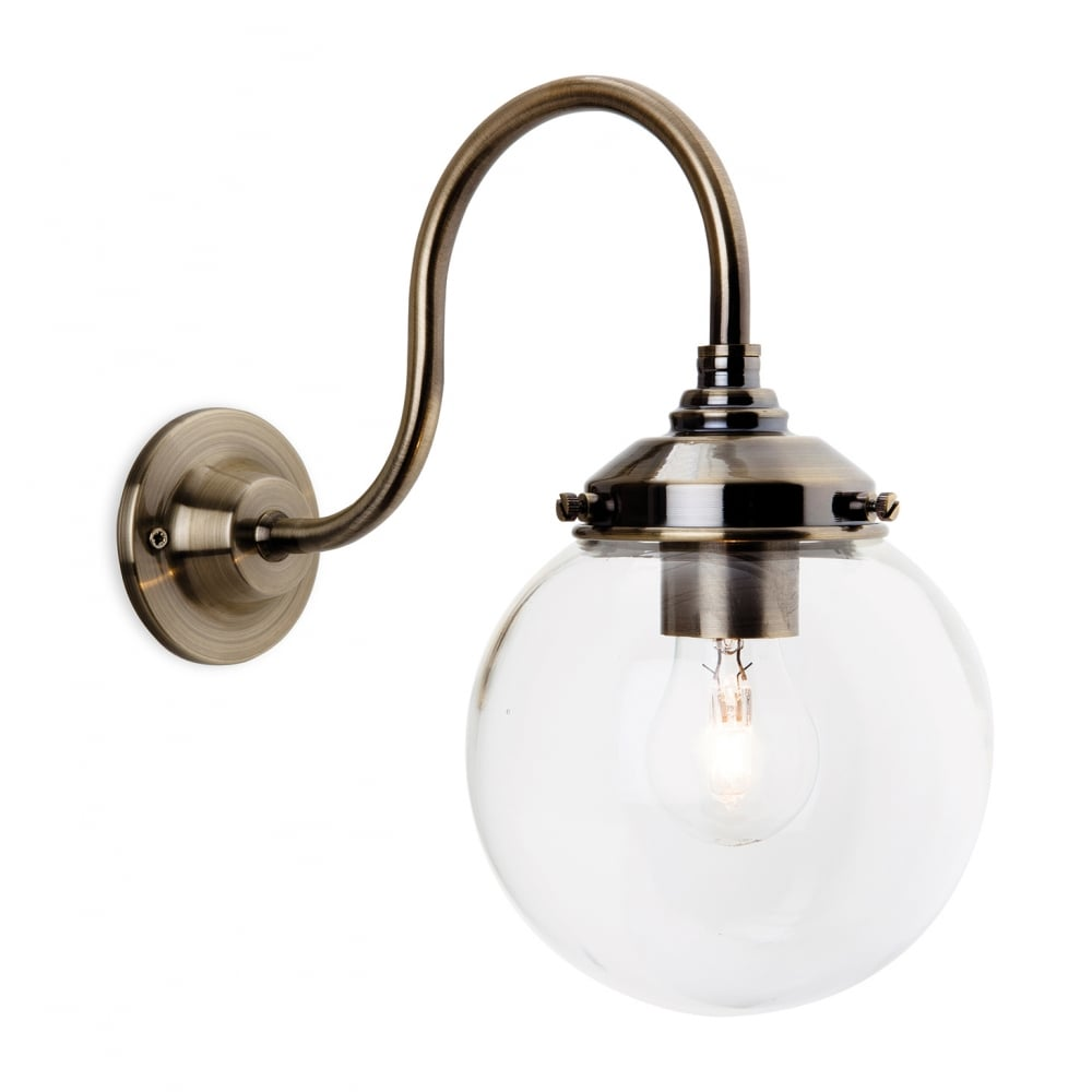 Antique Brass Wall Light with Clear Globe Glass Shade