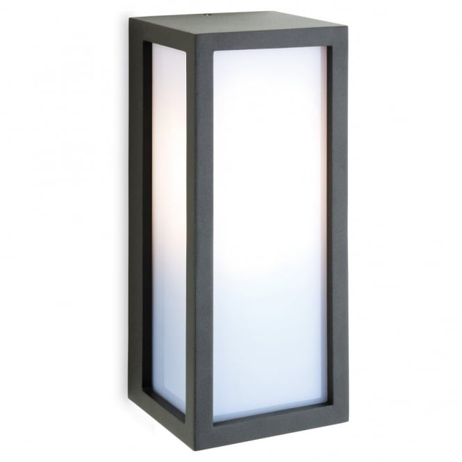 WARWICK box wall light with opal diffuser in graphite finish
