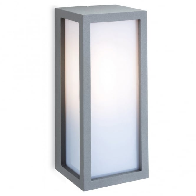 The Lighting Collection WARWICK box wall light with opal diffuser in silver finish