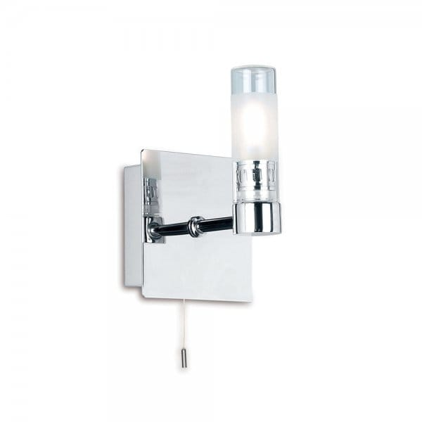 Bathroom wall light in chrome, IP44 wall light for modern bathrooms