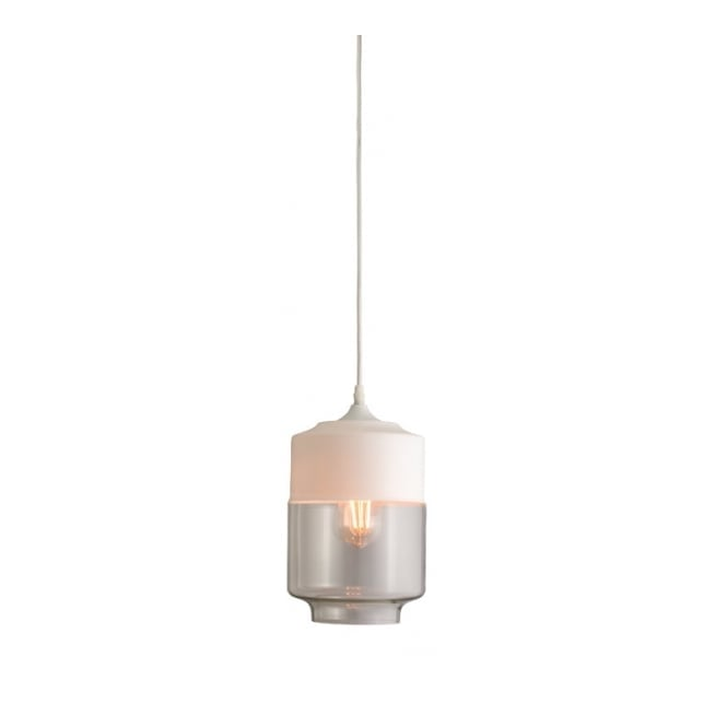 The Lighting Directory BRODY matte white and clear glass ceiling pendant