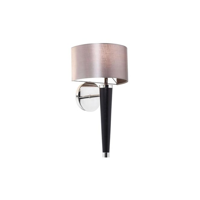 The Lighting Directory CORVINA contemporary wood effect wall light with faux silk shade
