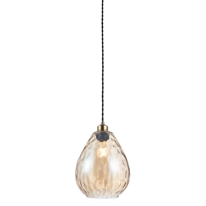 The Lighting Directory EILEEN cognac tinted ripple effect glass easy fit pendant shade