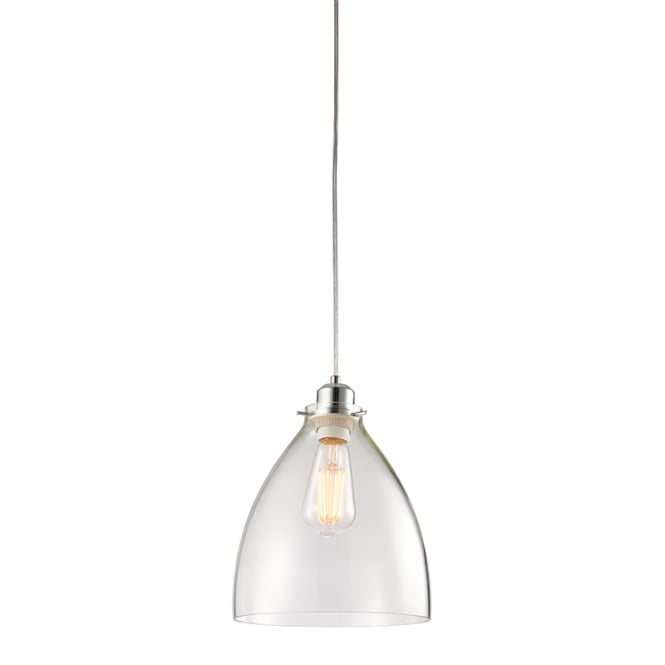 ELSTOW minimalist easy fit glass pendant shade with chrome trim