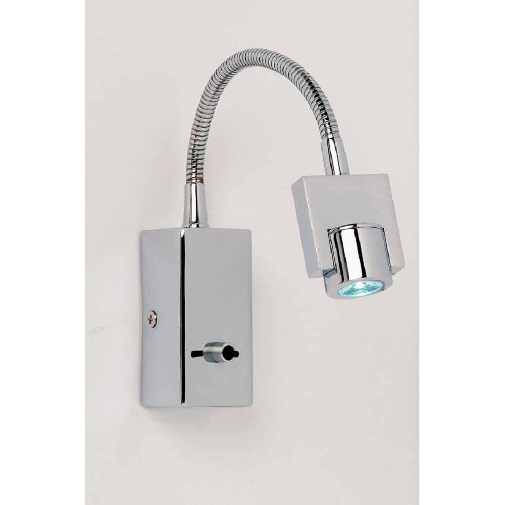 Chrome Flexible Arm Switched Wall Light, Double Insulated Reading Light