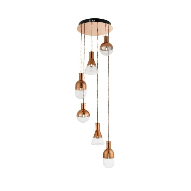 6 Light Clear And Copper Glass Ceiling Cluster Pendant