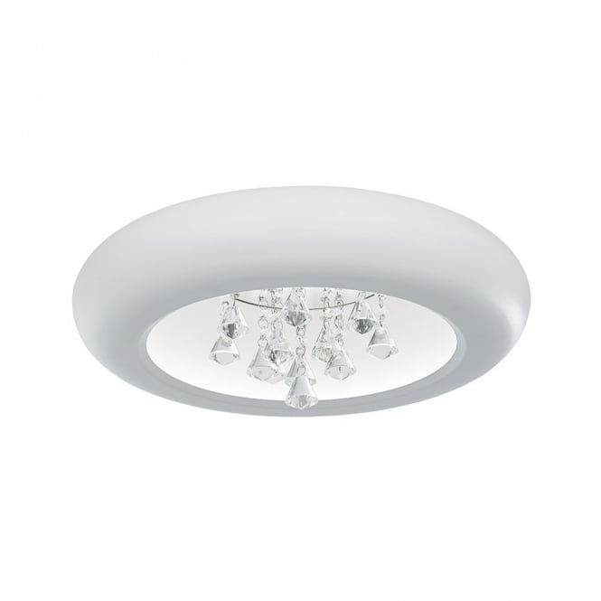The Lighting Directory KENZO contemporary white flush LED ceiling light with crystal droplets