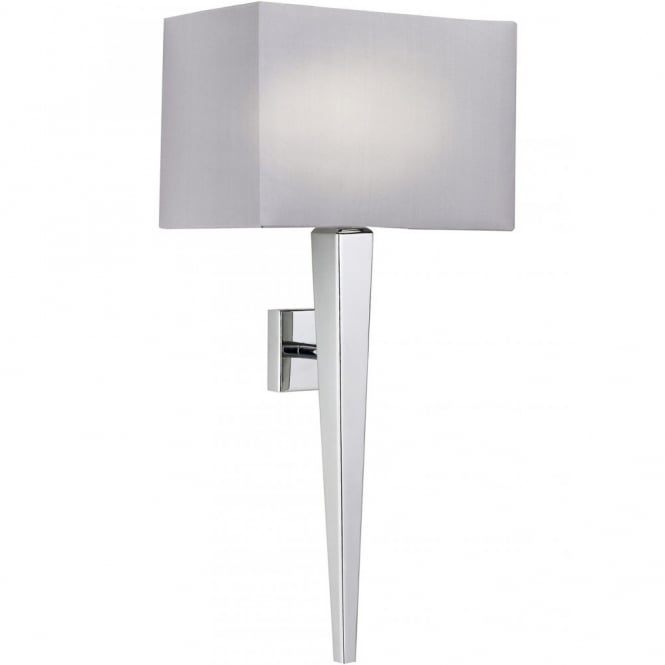 MORETO contemporary polished chrome wall light with faux silk shade